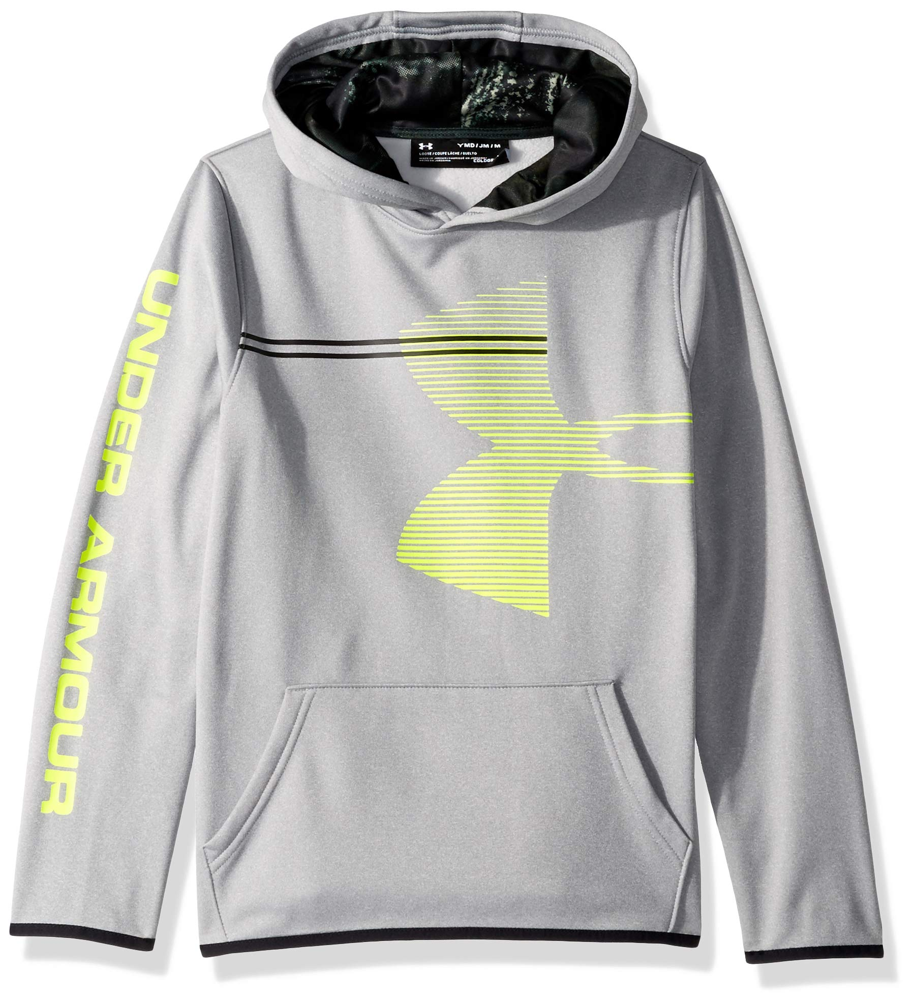 Under Armour Boys' Armour Fleece Hoodie, Steel Light Heather (035)/Black, Youth Small by Under Armour