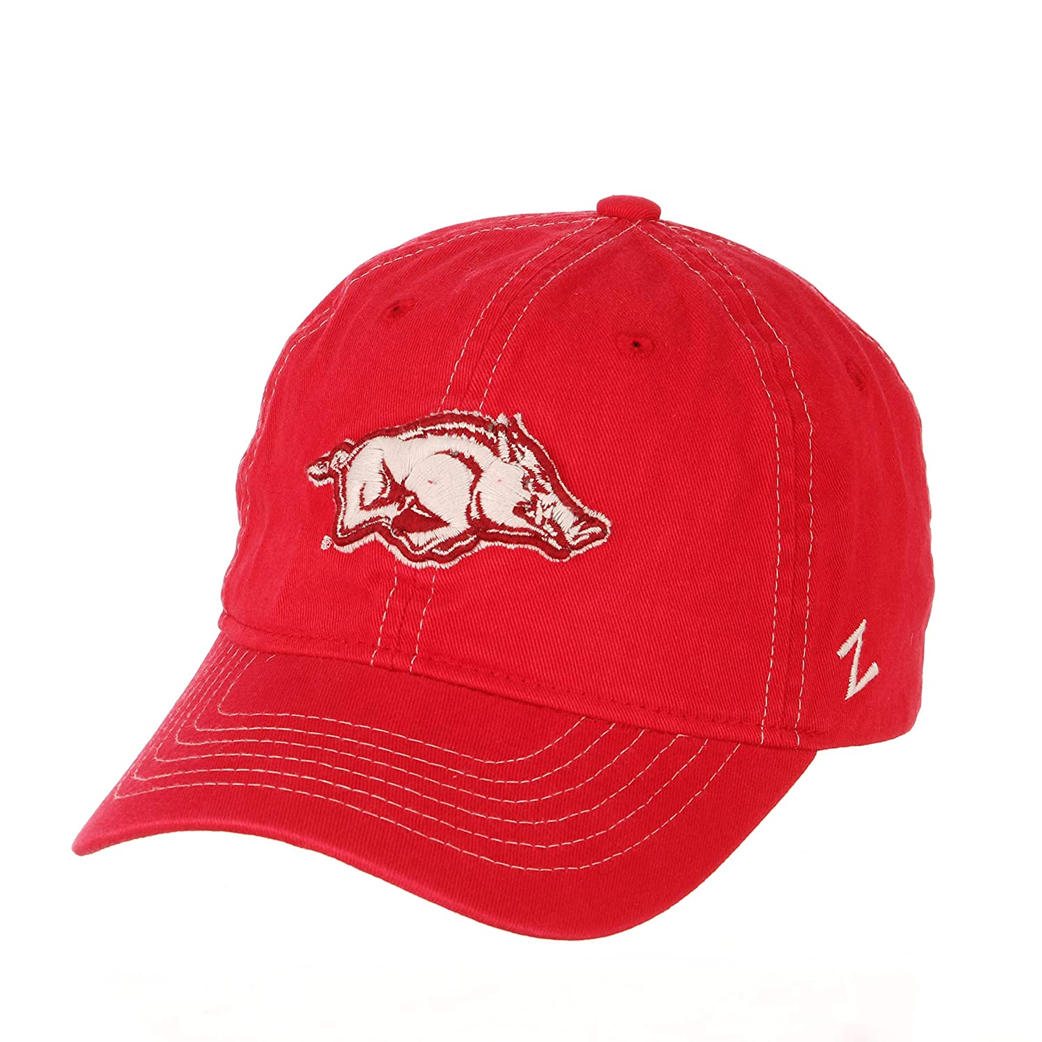 Primary Team Color Adjustable NCAA Zephyr Arkansas Razorbacks Mens Solo Washed Cotton Relaxed Hat