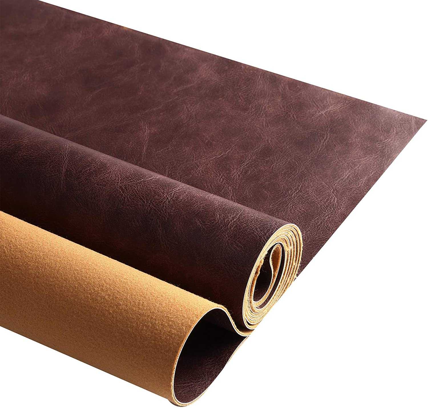 Soft PU Leather Upholstery Fabric 1.2mm Thick Upholstery Leather Distressed Bark Fabric(Dark Brown,36