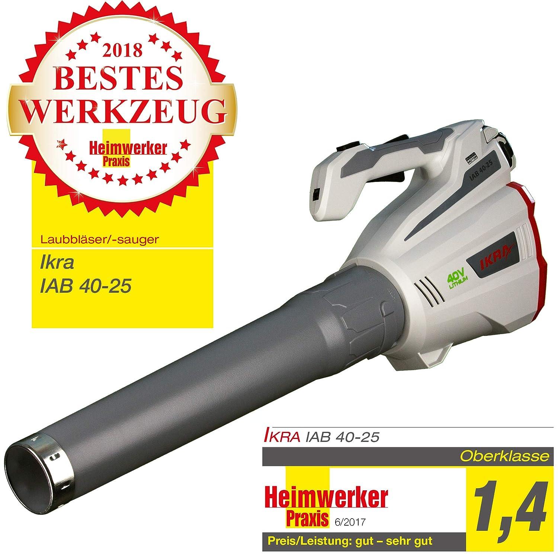 Ikra Soffiatore a batteria IAB 40-25, ergonomico, velocità aria massima 320km/H, 40V Ioni di Litio Durata: fino a 60minuti. velocità aria massima 320km/H 40V Ioni di Litio Durata: fino a 60minuti.