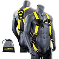 KwikSafety (Charlotte, NC) THUNDER Safety Harness | ANSI OSHA Full Body Personal Fall Protection 1 Dorsal Ring 2 Side D-Rings & Pass Through Buckle Straps Construction Industrial Tower Roofing Tool