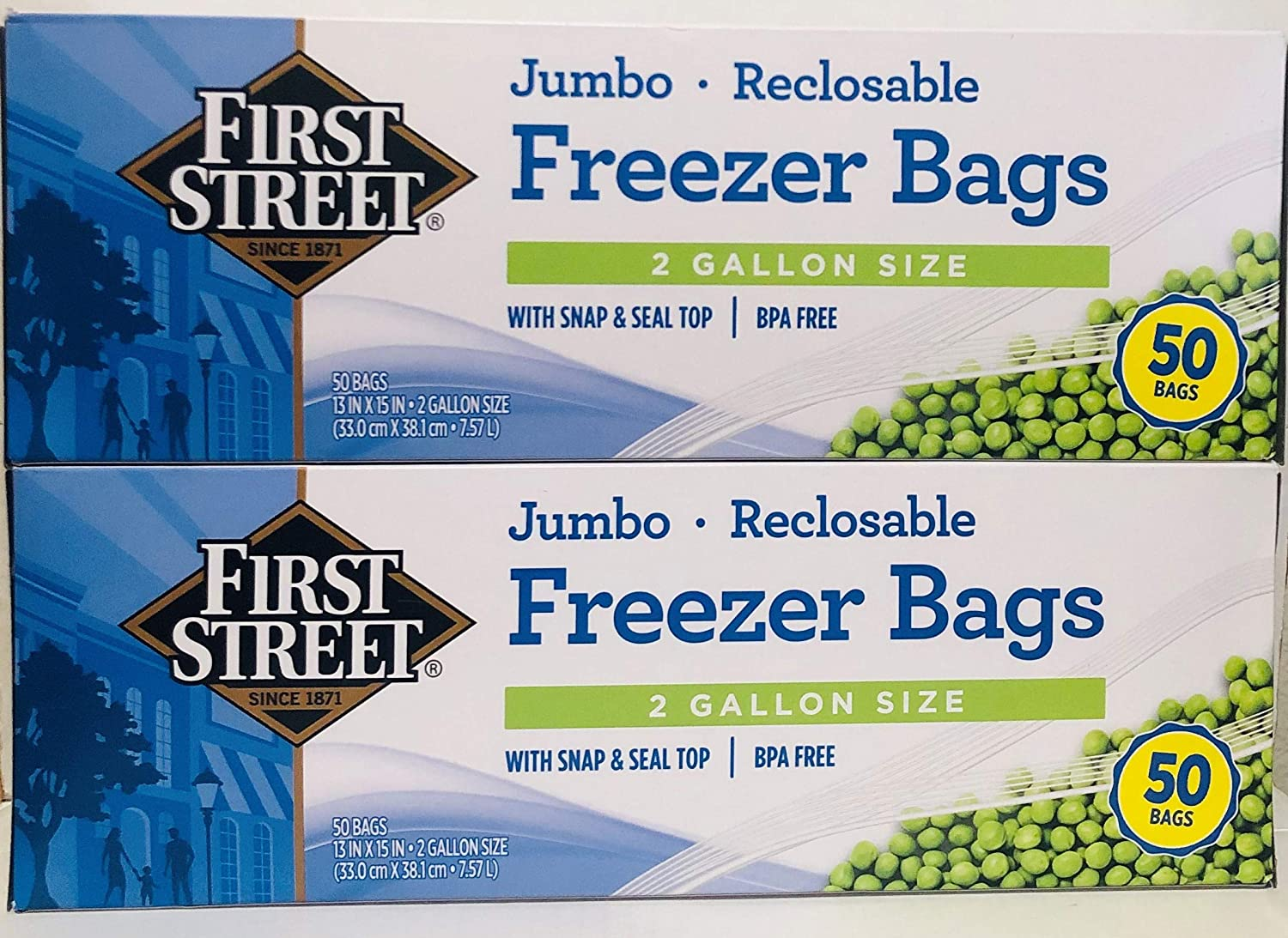 "First Street Jumbo 2-Gallon Reclosable Freezer Bags with Snap and Seal Zip Lock Top, 13""x15-5/8"", 50 Ct (Twin Pack)"