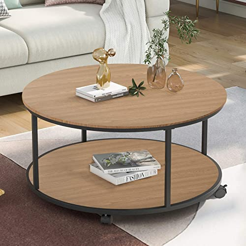 P PURLOVE Rustic Style Coffee Table Round Coffee Table