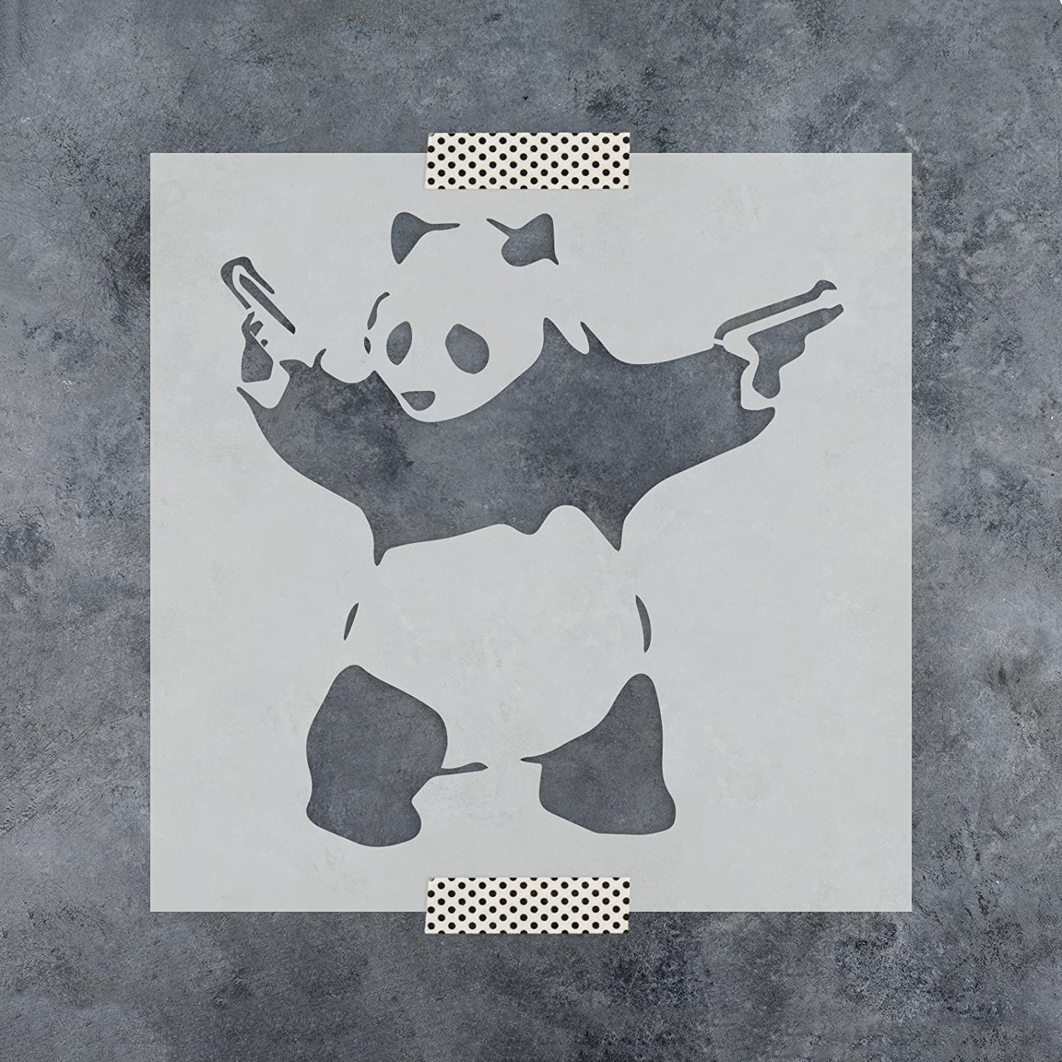 Amazon.com: Panda with Guns Banksy Stencil for Walls and Crafts - Reusable Stencils of Panda with Guns by Banksy for Painting in Small & Large Sizes - Made ...