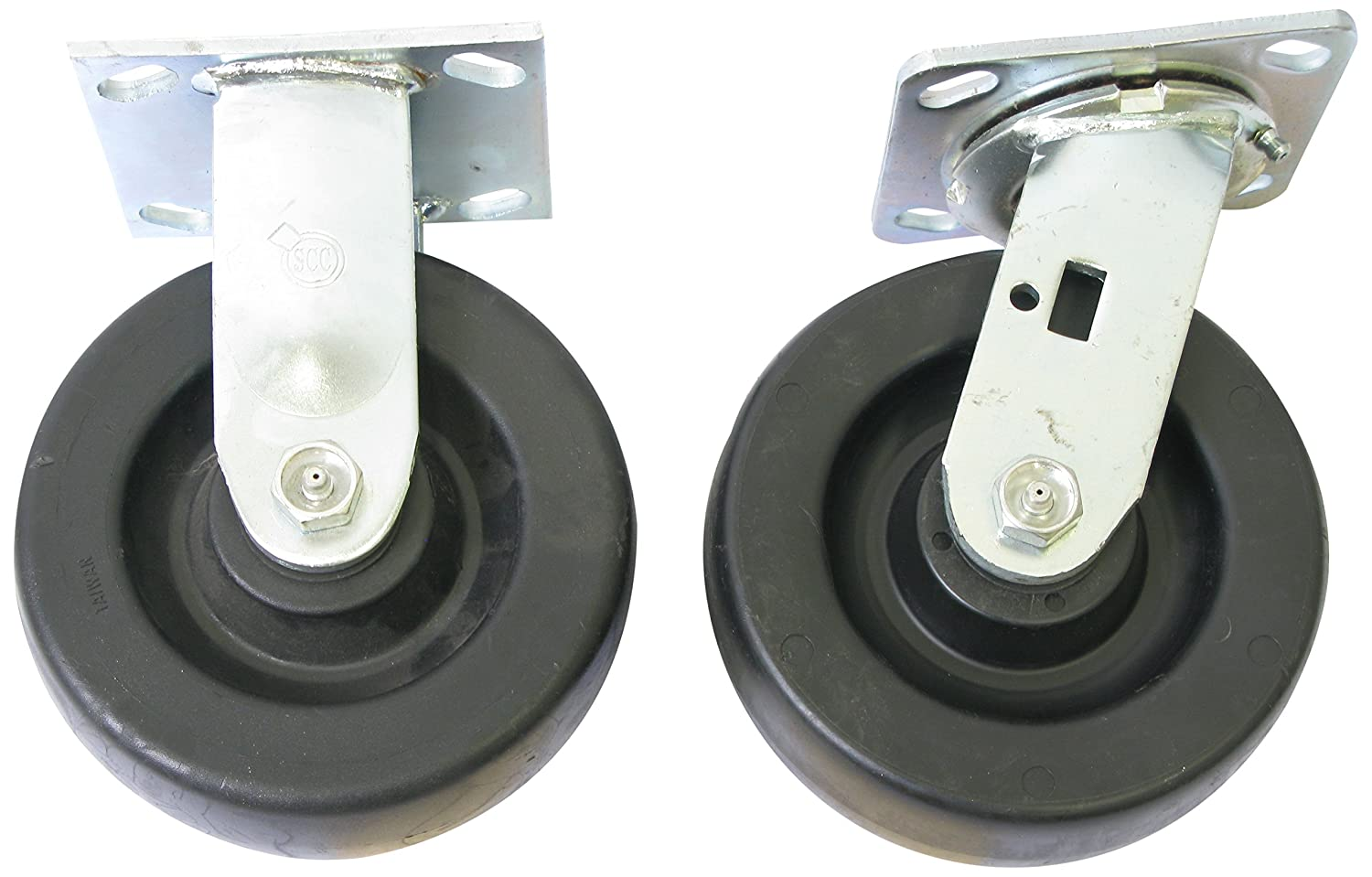 2000 Pound Capacity Wesco Industrial Products 250049 6 Diameter Polyolefin Wheel Rigid and Swivel Caster