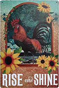 ZOVSON Rise and Shine Chicken Coop Retro Vintage Tin Signs Rooster Decorations Sunflower Farmhouse Country Home Decor 8X12Inch