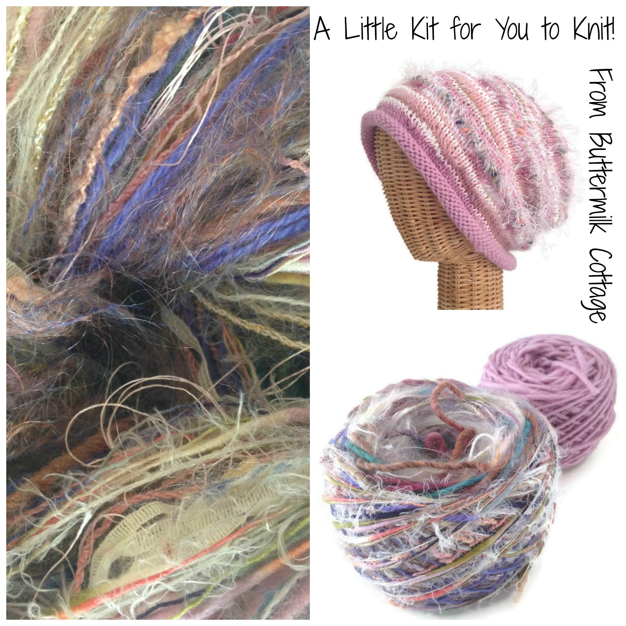 Boutique Yarn Slouchy Hat Knitting Kit Pink