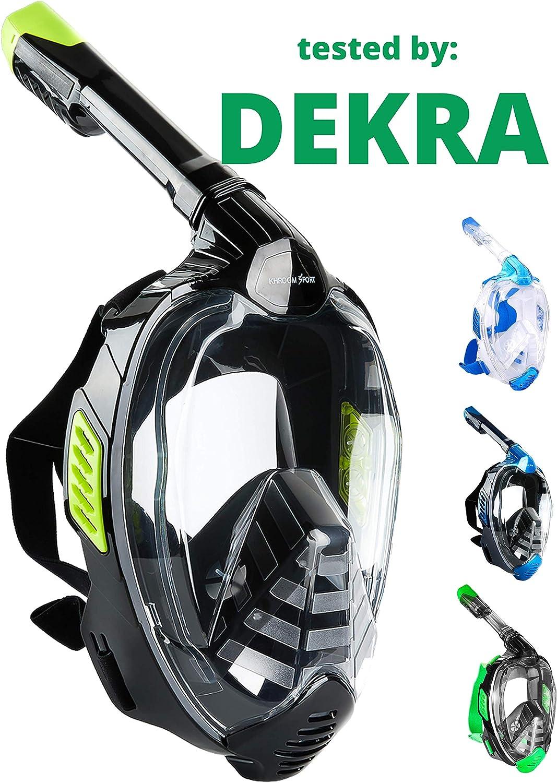 Khroom® - Máscara de buceo (certificada por DEKRA®, CO2 segura, conocida por YouTube, Seaview X, para adultos y niños.