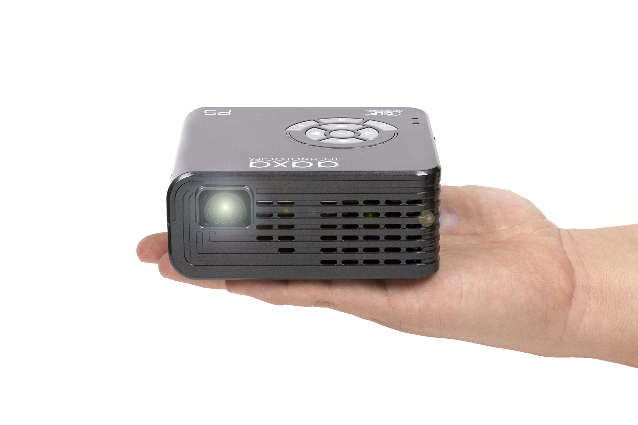 AAXA P5 LED Portable Pico Projector, 300 Lumen, 1280x720P HD Resolution, 135 Min Battery, 20,000 Hour LED, Media Player, Business by AAXA Technologies