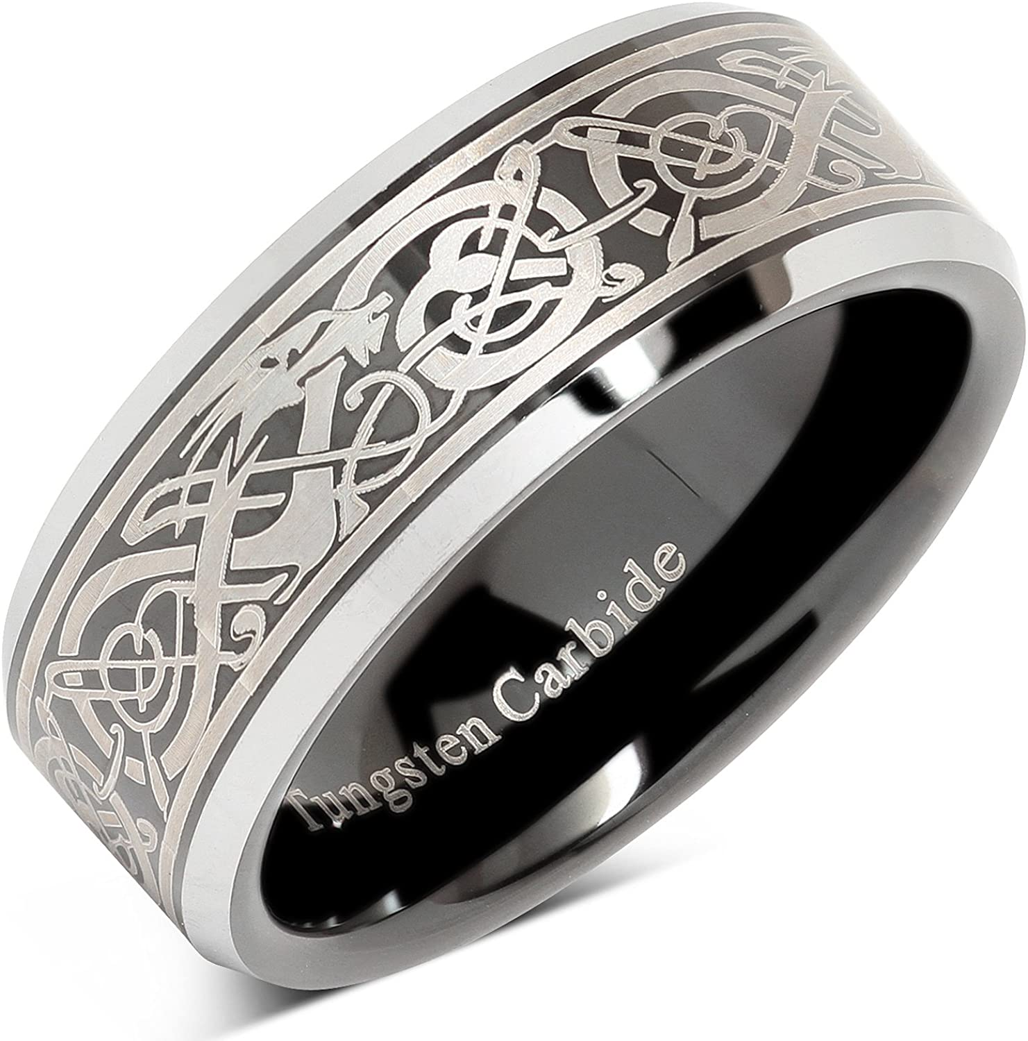 100S JEWELRY Tungsten Ring for Men Black Wedding Band Celtic Dragon Engraved Engagement Promise Beveled Size 8-15