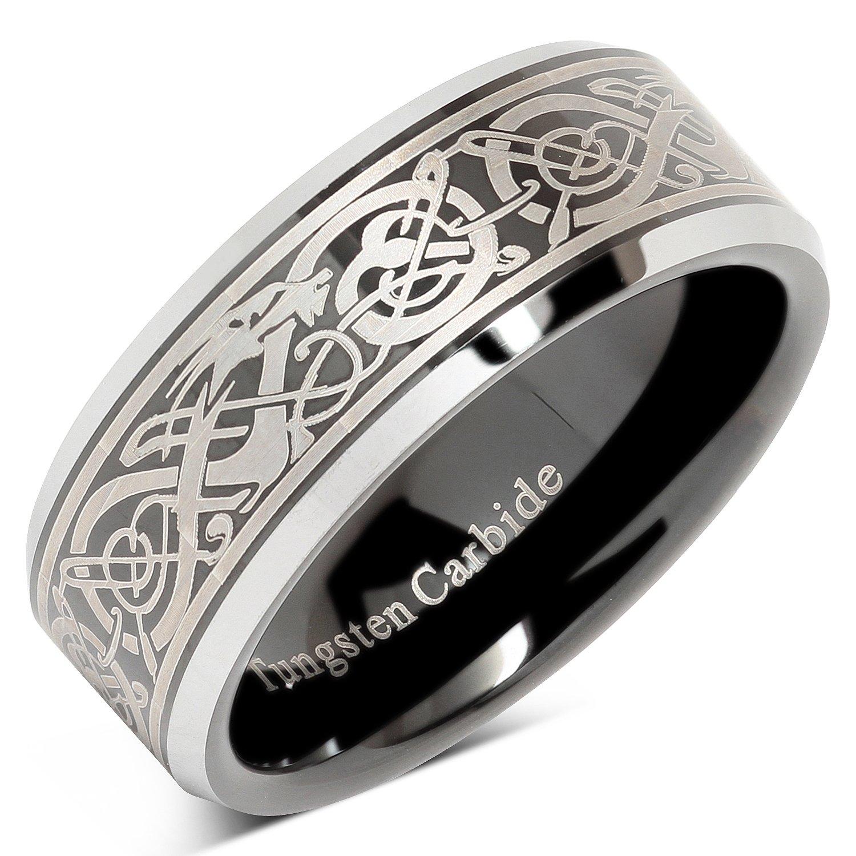 Tungsten Ring For Men Black Wedding Band Celtic Dragon Engraved Engagement Promise Beveled Size 8-15 (15)