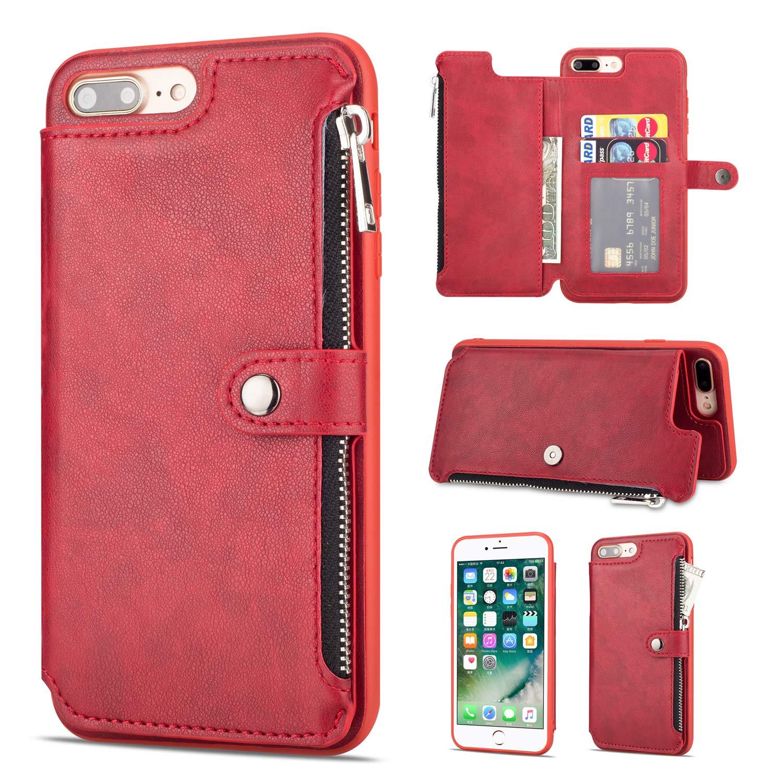 Shinyzone H/ülle f/ür iPhone 8 Plus//iPhone 7 Plus H/ülle,Rei/ßverschluss Brieftasche mit Kreditkarteninhaber und Geldtasche Magnetverschluss Standfunktion Leder Flip Back Schutzh/ülle-Rot