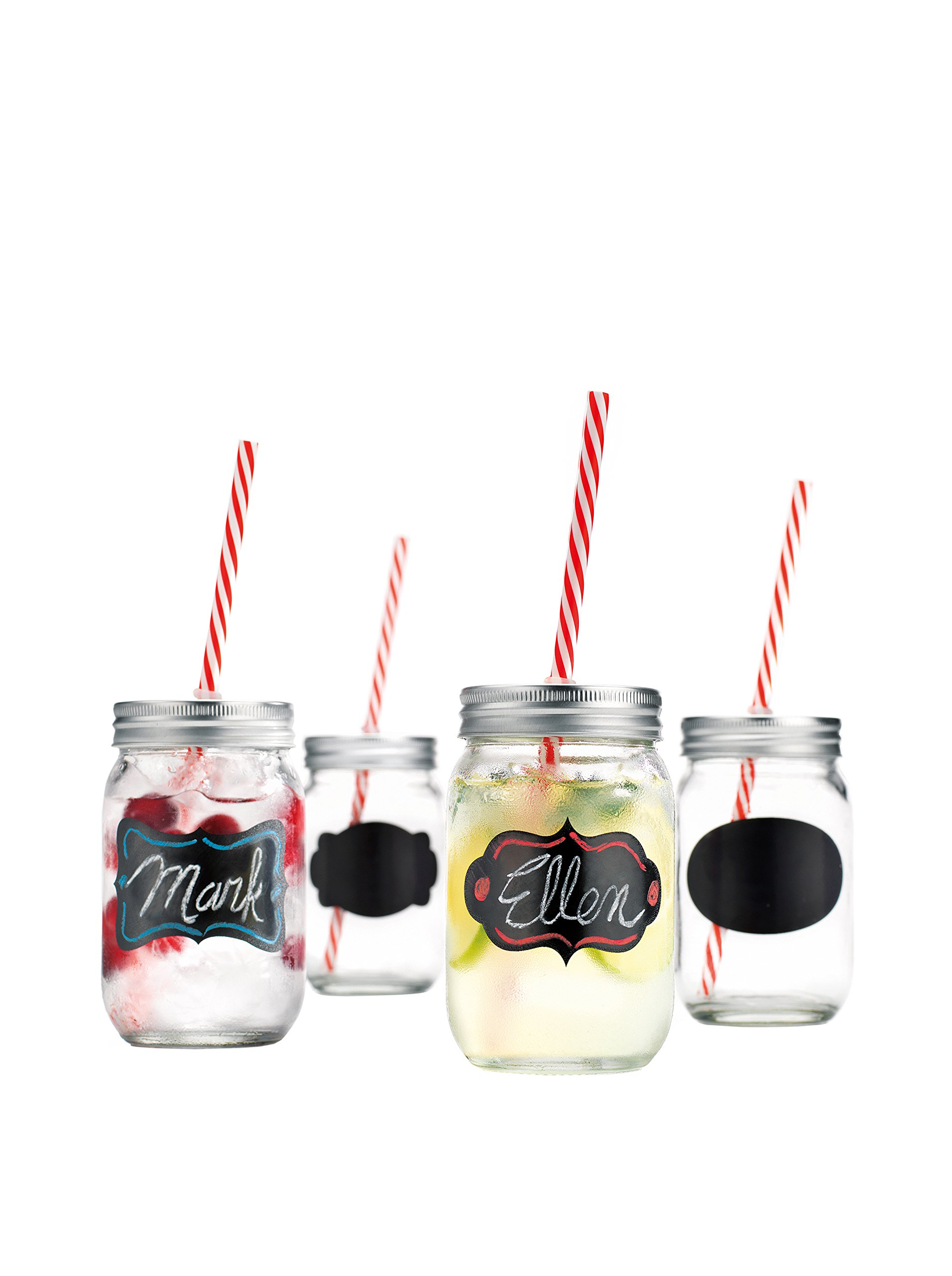 Home Essentials Set of 4 Chalk It Up 15-Oz. Mason Jar Glasses with Straws