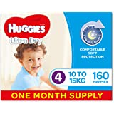 Huggies Ultra Dry Nappies, Boys, Size 4 Toddler (10-15kg), 160 Count, One-Month Supply