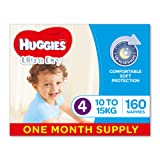 Huggies Ultra Dry Nappies, Boys, Size 4 (10-15kg) 160 Count, One-Month Supply