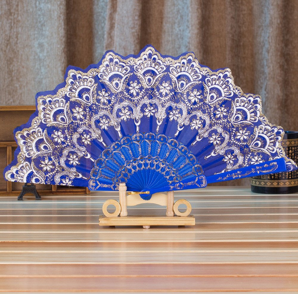 Chinese Style Bronzing Fan Folding Fan by Tuscom,Stamping Process Low-Key Fashion,9.05''/16.9'' for Dance Wedding Party Held Flower Fan (Blue)
