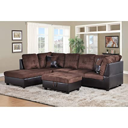 Amazon.com: AYCP FURNITURE Modern Sectional Sofa, Brown Left Hand ...
