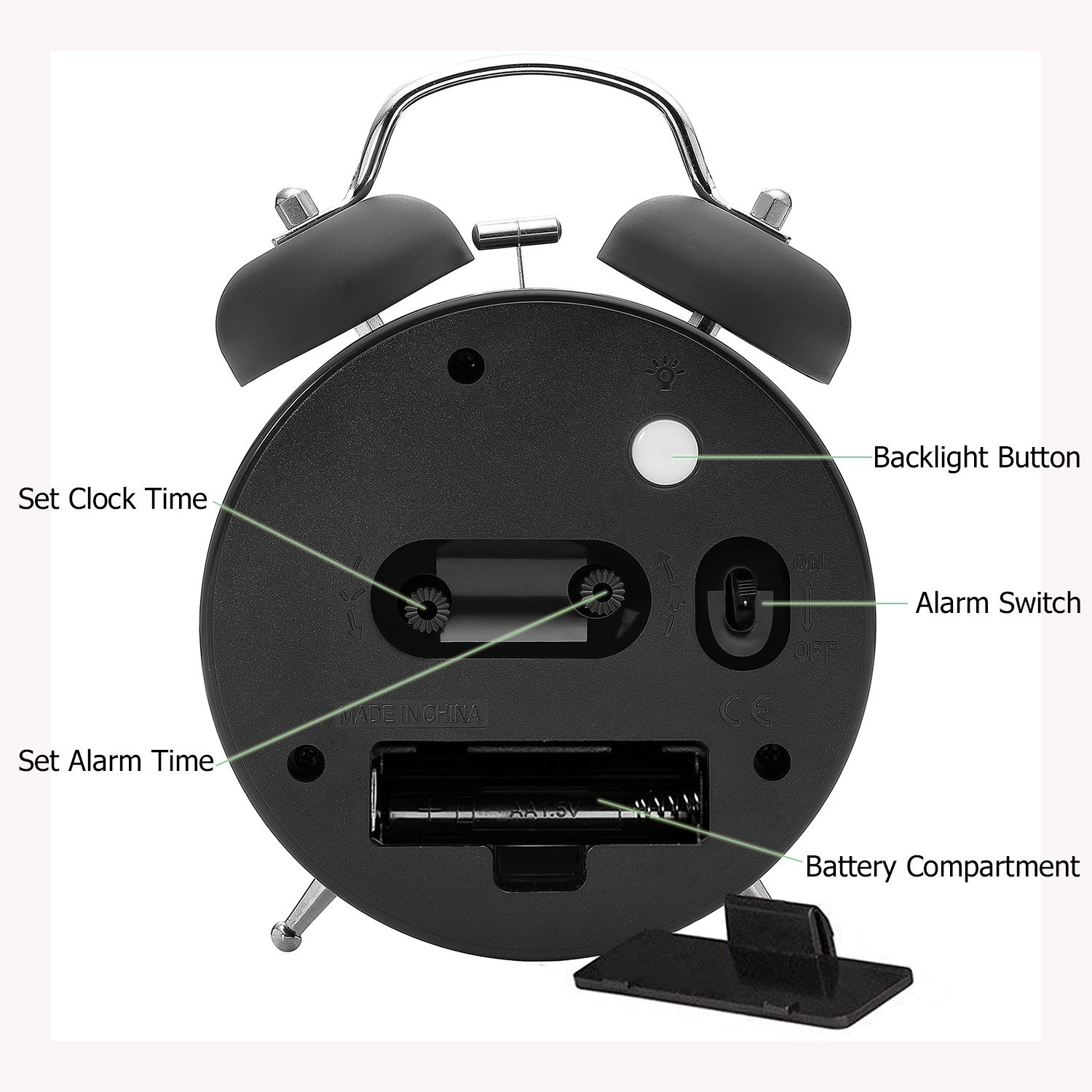 4'' Twin Bell Alarm Clock with Metal Dial, Nightlight, No Ticking Battery Operated Loud Alarm Clock for Bedroom (Black) by B.F.JOI (Image #4)