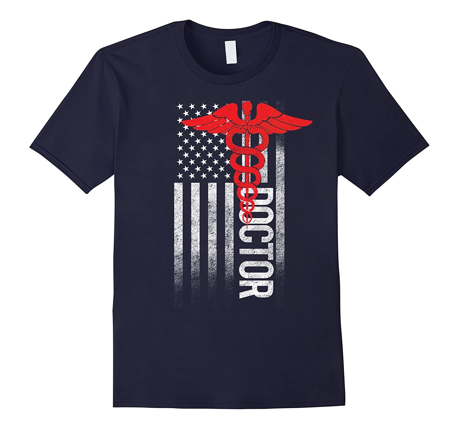 American Doctor USA Flag Medical Proud Freedom Lover T-Shirt-BN