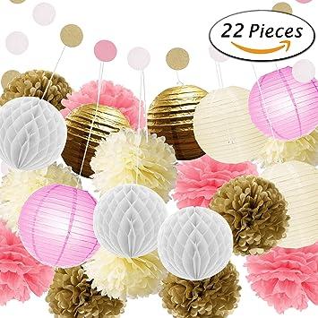 Paxcoo 22 piezas de oro rosa Pom Pom Piss flores flores de papel Guirnalda  de lunares 3717c2a8a52