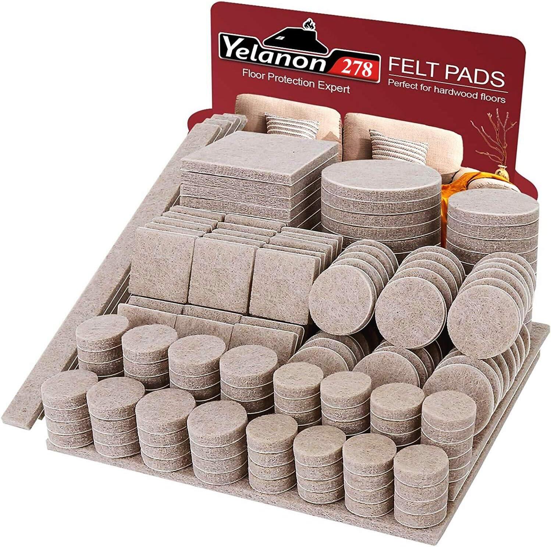 Felt Furniture Pads -278 Pcs Furniture Pads Self Adhesive, Cuttable Felt Chair Pads, Anti Scratch Floor Protectors for Furniture Feet Chair Legs, Furniture Felt Pads for Hardwoods Floors, Beige