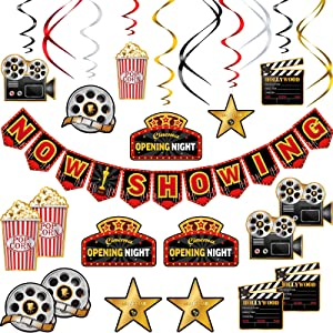 45 Pieces Movie Night Decorations Hollywood Party Decorations Kit Now Showing Banner Hanging Swirls Hollywood Movie Theater Themed for Bridal Shower Birthday Party Supplies Film Backdrop