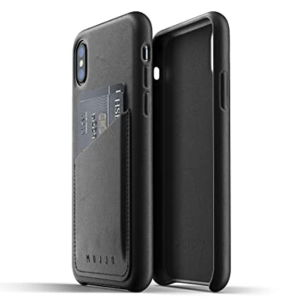 buy popular 83c6c 47791 Mujjo Full Leather Wallet Case compatible with iPhone XS, iPhone X | 2-3  Card Pocket, 1MM Protective Screen Bezel, Japanese Suede Lining (Black)