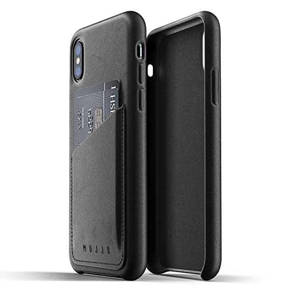 buy popular 9a56c daf62 Mujjo Full Leather Wallet Case compatible with iPhone XS, iPhone X | 2-3  Card Pocket, 1MM Protective Screen Bezel, Japanese Suede Lining (Black)
