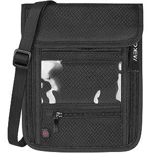 MEKO パスポートケース RFIDトラベルケース トラベル 高品質スキミング素材 貴重品入れ 首下げ 7ポケット セキュリティーポーチ 多機能 パスポートポーチ 防水 軽量 チケット入れ 旅行用品 海外旅行 (ブラック)