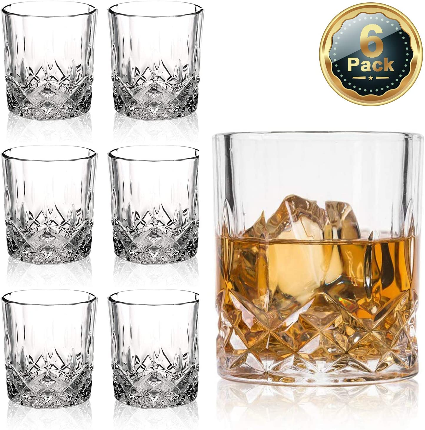 Farielyn-X Crystal Old Fashioned Whiskey Glasses (Set of 6), 11 Oz Unique Bourbon Glass, Ultra-Clarity Double Old Fashioned Liquor Vodka Bourbon Cocktail Scotch Tumbler Bar Glasses Set