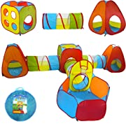 Playz 7pc Kids Playhouse Pop Up Play Tent Crawl Tunnel & Ball Pit with Basketball Hoop for Boys, Girls, Babies, and Toddlers - Indoor & Outdoor Use w/ Zipper Storage Case