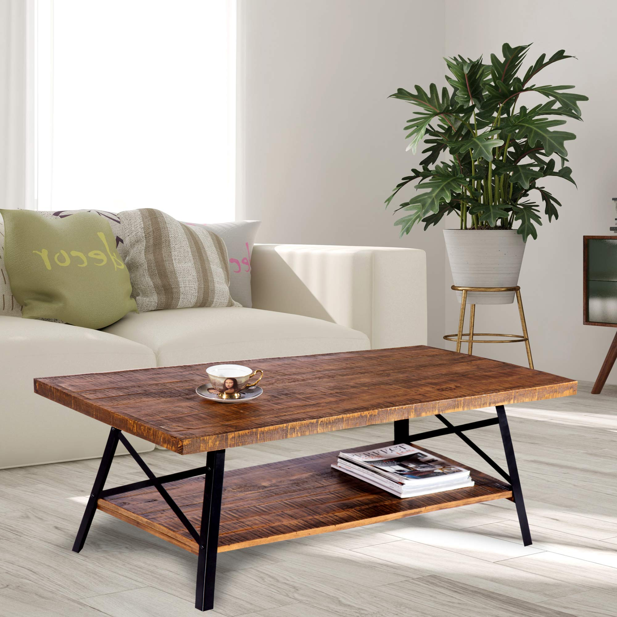Olee Sleep 46'' Cocktail Wood & Metal Legs Coffee Table, Rustic Brown by Olee Sleep