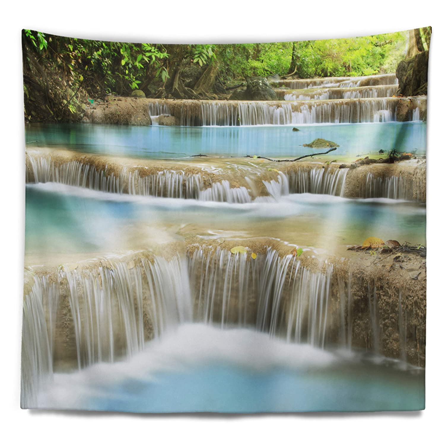 Designart Tap7097 60 50 Blue Erawan Waterfall Landscape Photography Blanket Décor Art For Home And Office Wall Tapestry Large 60 In X 50 In Created On Lightweight Polyester Fabric Home Décor Home Kitchen