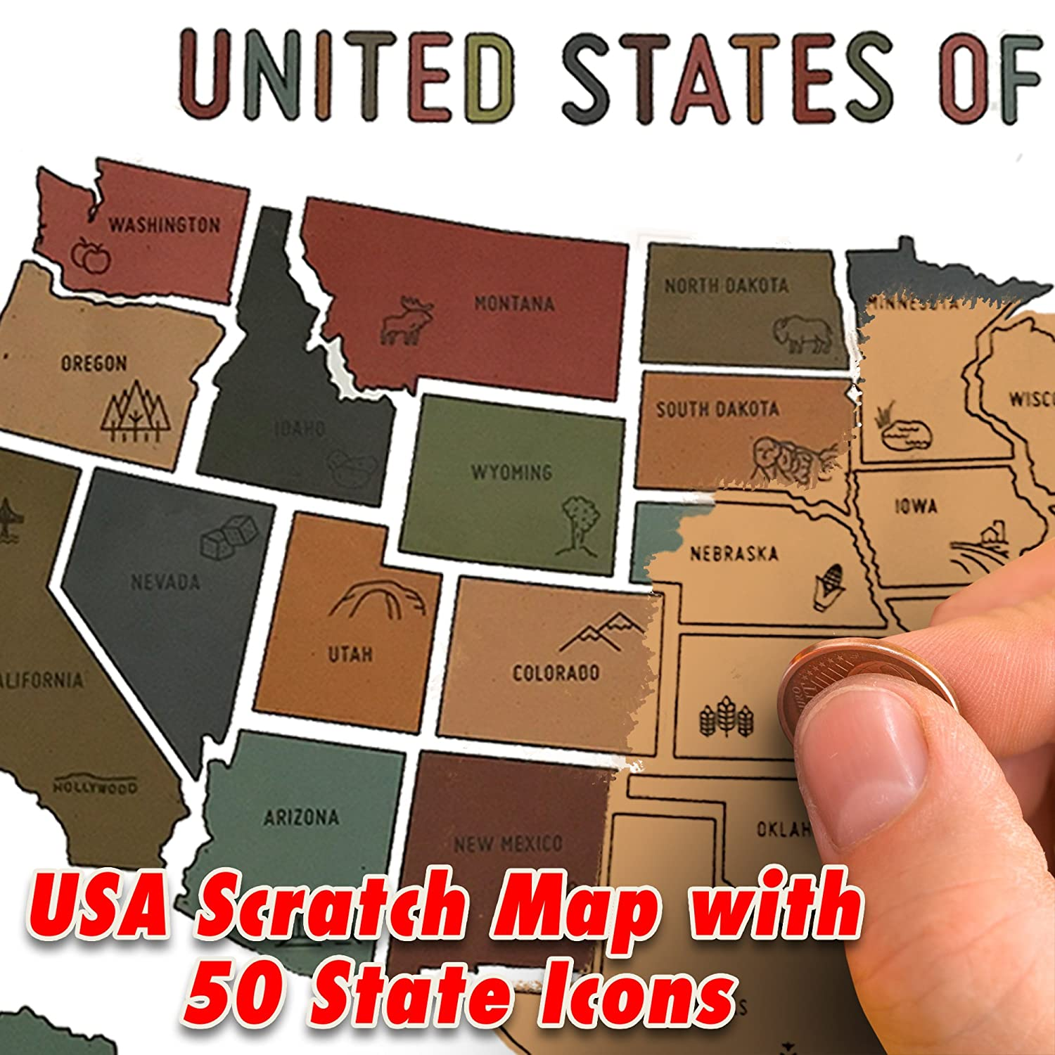 Scratch Off Map of The United States - USA Oversized Watercolor Pastel Travel Map - US 50 States Travel Tracker Gift - Where I Have Been Maps - Travel Fund - Vacations, Camping, RV and Van Trips WDS USSCRATCHMAPUSA1