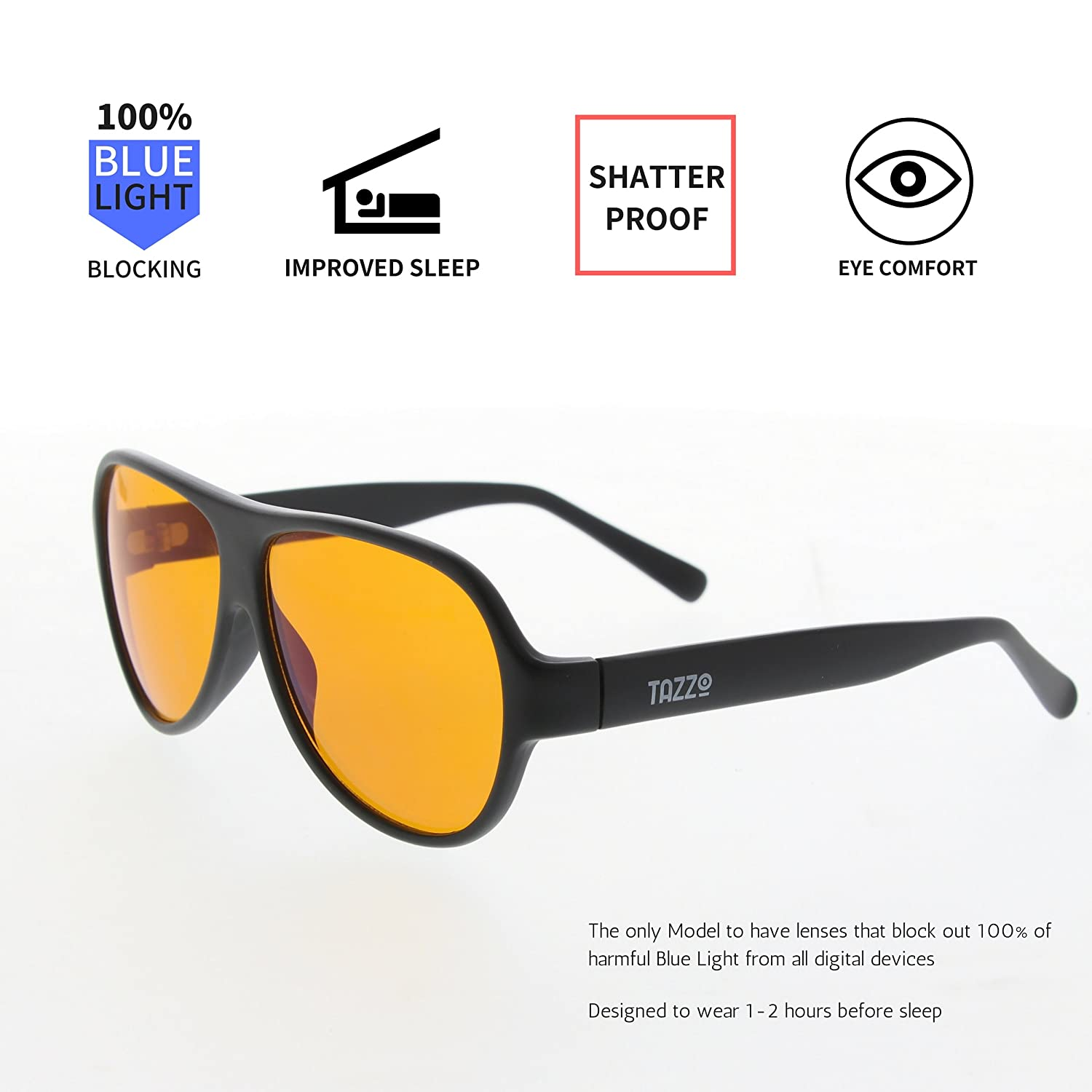 5feda230c2 100 Percent Blue Light Blocking Glasses - Anti-Blue Light Eyewear- PC Gamer  Glasses Computer Glasses - Digital Eyewear- Prevent Digital Eyestrain -  Improve ...