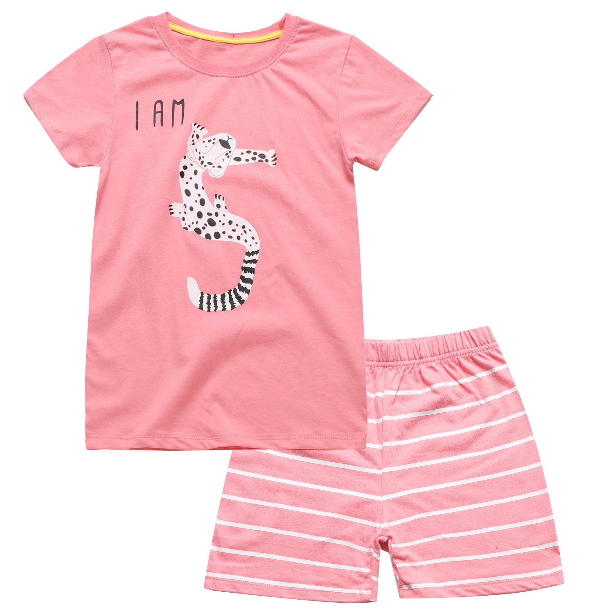 Color Changeable Little Girls' Clothes Set Animal Cartoon 5th Birthdays Gift Shirt with Shorts (5T)