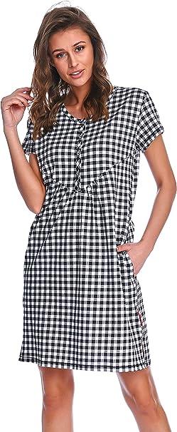 TALLA S. Dn-Nightwear TM.5038 Hermoso Camisón Maternal A Topos - Hecho En La UE