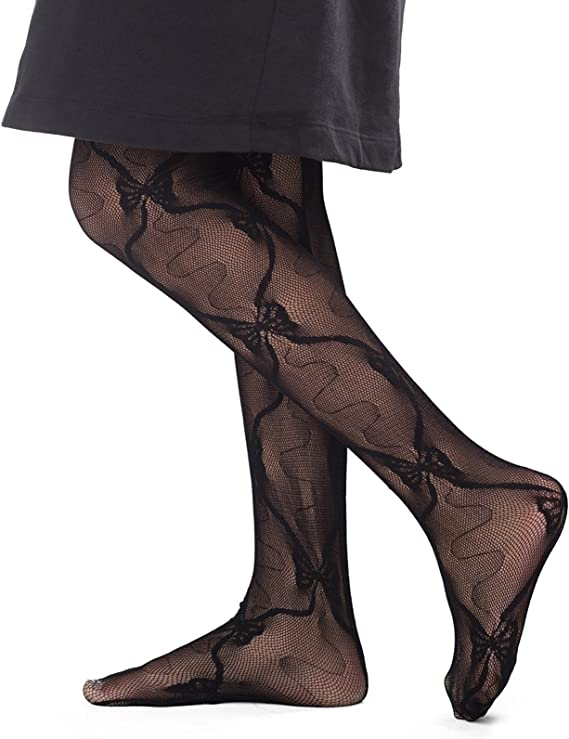 BLOSSOM FINE PANTYHOSE special occasion HOSIERY BLACK WITH FLORAL PATTERN