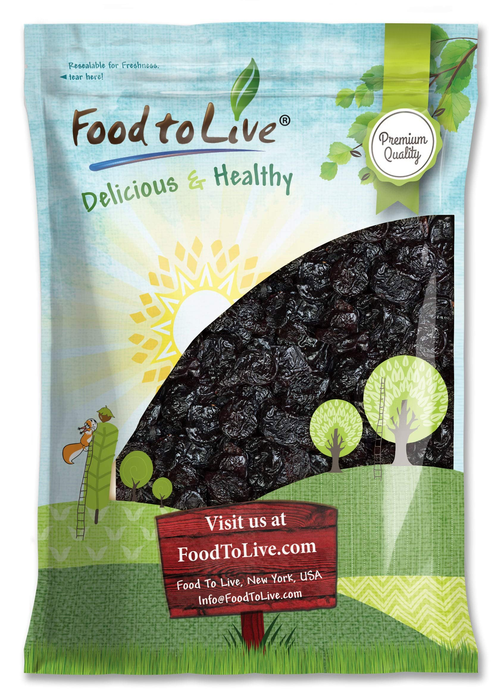 Pitted Prunes, 15 Pounds - Whole Dried Plums, Unsulfured, Unsweetened, Non-Infused, Non-Oil Added, Non-Irradiated, Vegan, Raw, Bulk by Food to Live