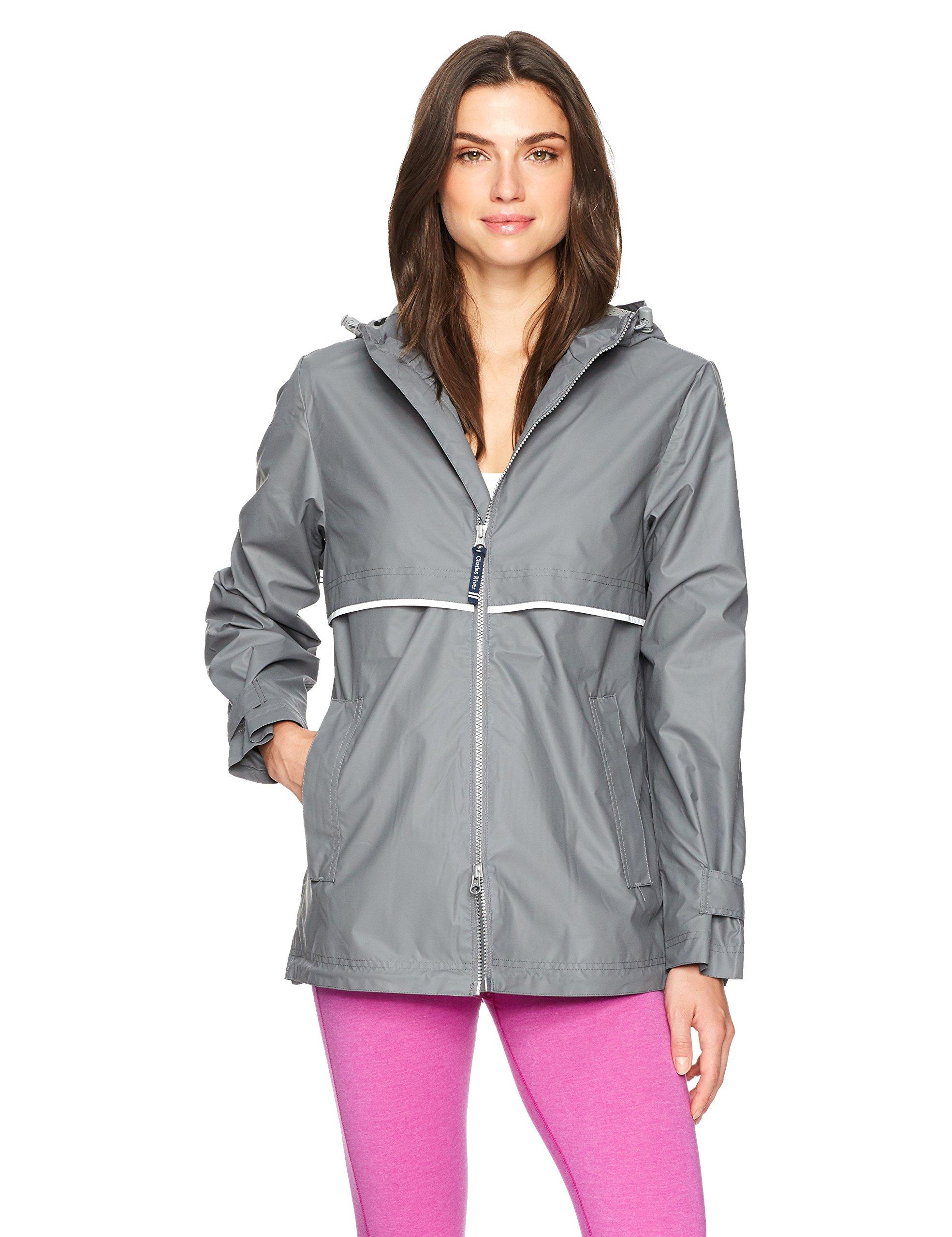 Charles River Apparel Women's New Englander Waterproof Rain Jacket, Grey/Reflective, S by Charles River Apparel