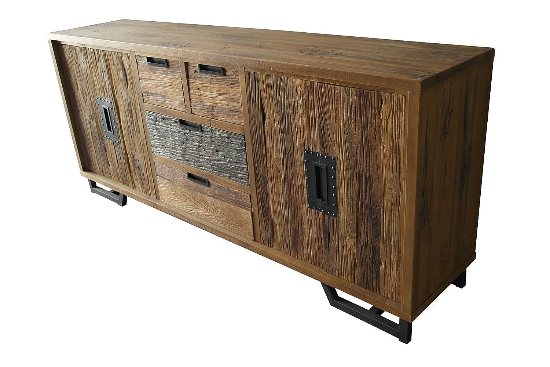 Sideboard Rahmen Albesia, Fronten und Türen Teakholz, Rückseite, Schubladenböden und Einlegeböden Sperrholz, Beine Eisen Antikfinish