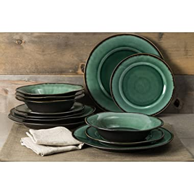 Better Homes and Gardens Modern Stoneware Construction 12-Piece Microwave/Dishwasher Safe Dinnerware Set, Green