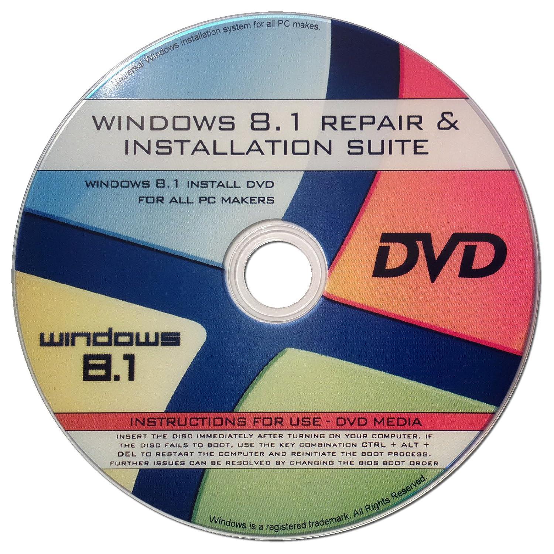 Amazon.com: Windows 8.1 64-bit New Full Re Install Operating System Boot  Disc - Repair Restore Recover DVD