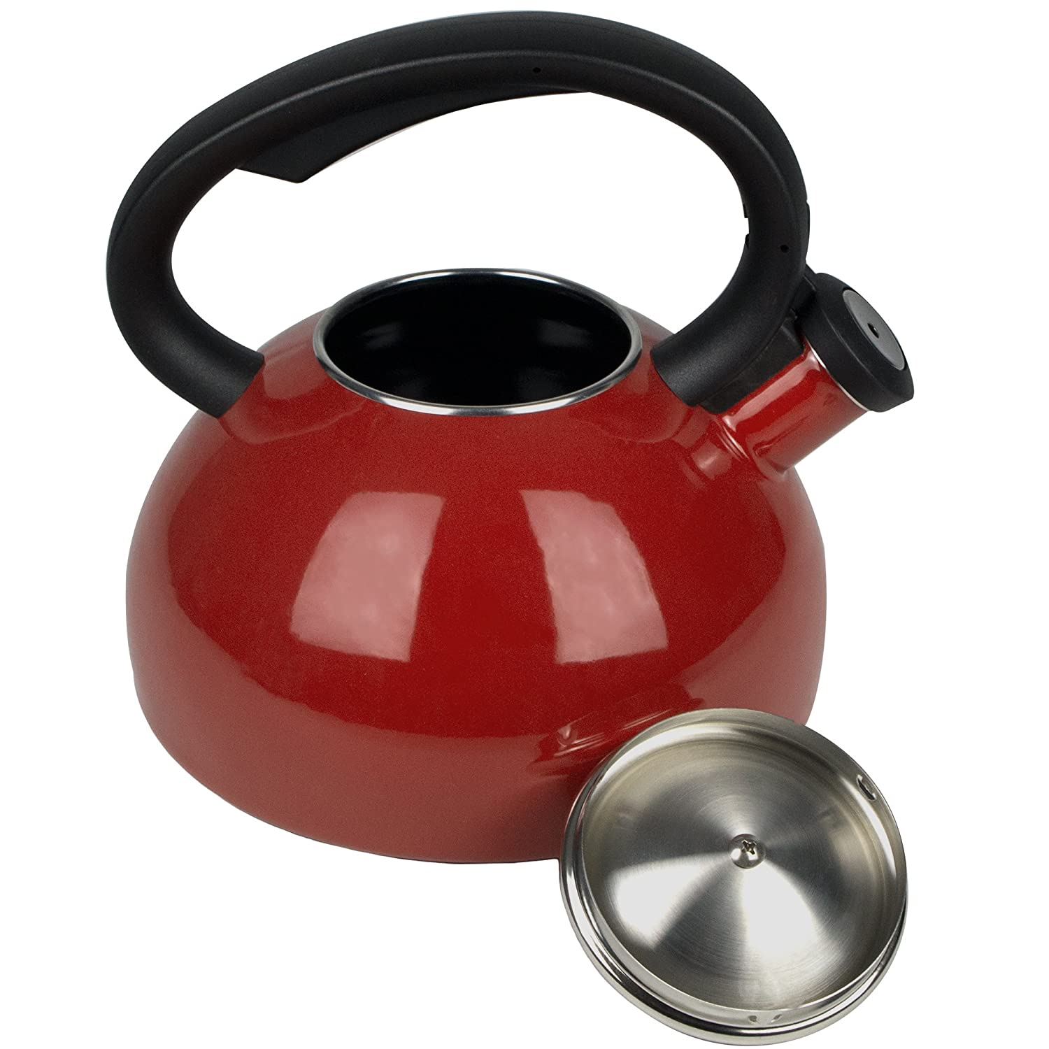 Costa by AIDEA Porcelain Enameled Tea Kettles Whistling Tea Kettle for Stovetop 2-Quart Teapots Red