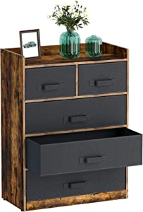 Rolanstar Dresser with 5 Drawers, Drawer Dresser with Fabric Drawers,Wide Storage Tower for Bedroom Closet, Entryway, Hallway, Nursery Room,Rustic Brown