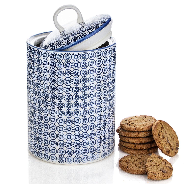 Nicola Spring Porcelain Biscuit Cookie Barrel Jar in Blue Flower Print