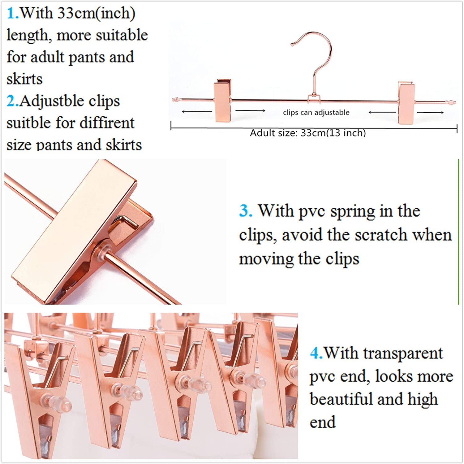 Pants Hanger Skirt Hanger With 360 Rotatable Hooks And Adjustable Clips Cocomaya 13 Inch Heavy Duty Rose Gold Metal Slack Hanger Pack Of 10 Clothing Closet Storage Clothes Hangers Convert between the units (cm → in) or see the conversion table. pants hanger skirt hanger with 360