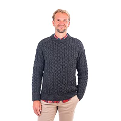 100% Merino Wool Blasket Crew Neck Collar Aran Sweater Pullover Honeycomb Stitch Made in Ireland at Amazon Men's Clothing store