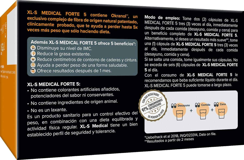 XLS Medical FORTE 5 - PIERDE HASTA x5 veces MÁS PESO que sólo haciendo dieta - Captagrasas con Ingredientes Activos de ORIGEN NATURAL.