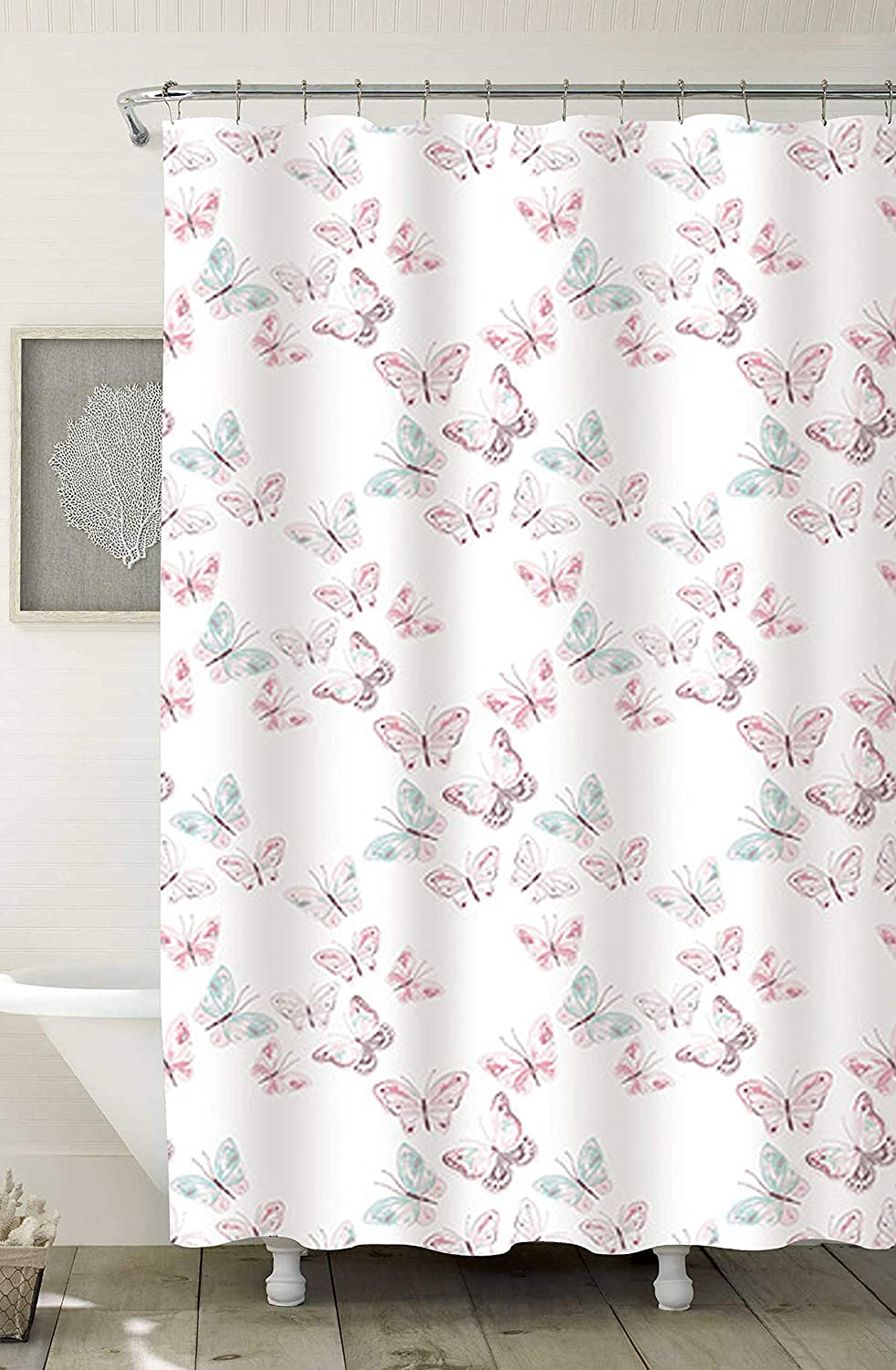 """Home Expressions Durable Waterproof Peva Shower Curtain 70""""x72"""" Delicate Butterflies Product Name"""